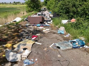 Illegally dumped waste in a lane off Roxton Road, Immingham.