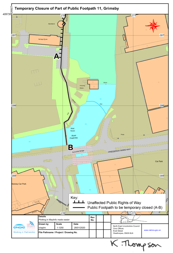 Map of Footpath 11 Grimsby
